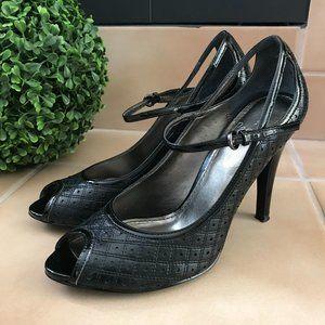Linea Paolo Heels | Black Textured Peep Toe Sz. 7